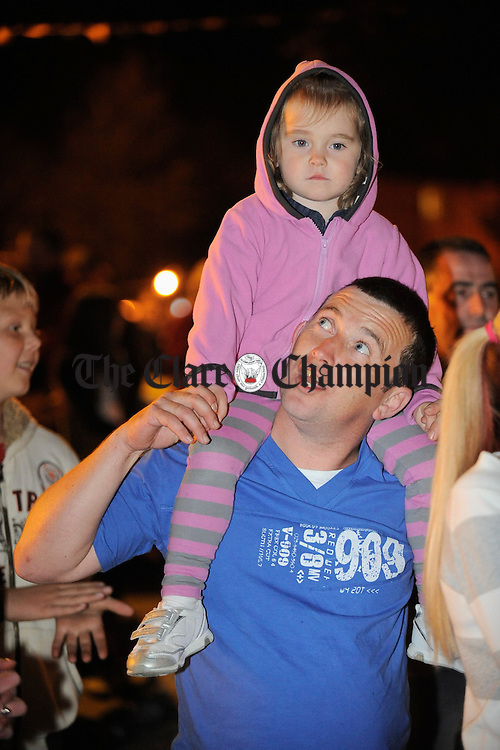 Clare and her dad Justin Madden at the Clare Shout Festival competitioin in KIilkishen. Photograph by John Kelly.