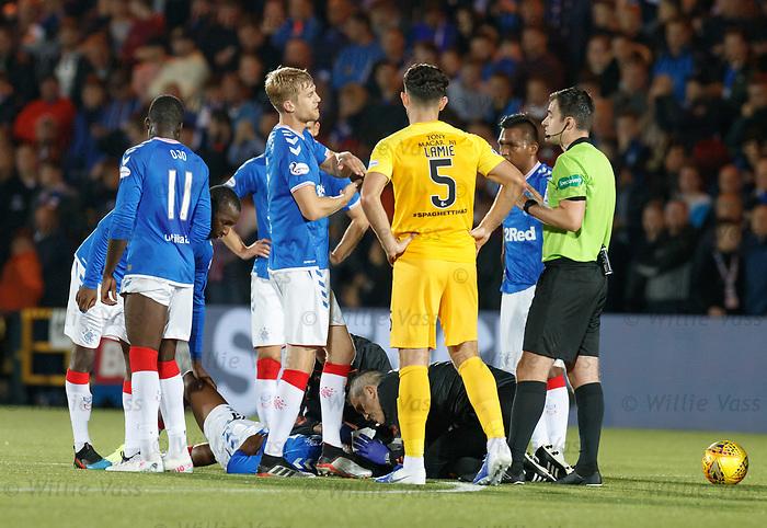 25.09.2018 Livingston v Rangers: Joe Aribo hurt