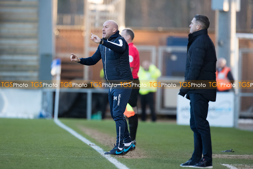 John McGreal, Head Coach of Colchester United gets his point across from the touch line during Colchester United vs Plymouth Argyle, Sky Bet EFL League 2 Football at the JobServe Community Stadium on 8th February 2020