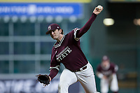 Mississippi State Bulldogs starting pitcher Konnor Pilkington (48) delivers a pitch to the plate against the Louisiana-Lafayette Ragin' Cajuns in game three of the 2018 Shriners Hospitals for Children College Classic at Minute Maid Park on March 2, 2018 in Houston, Texas.  The Bulldogs defeated the Ragin' Cajuns 3-1.   (Brian Westerholt/Four Seam Images)