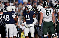 STATE COLLEGE, PA - OCTOBER 13: Penn State LB Micah Parsons (11) celebrates after a defensive stop. The Michigan State Spartans defeated the Penn State Nittany Lions 21-17 on October 13, 2018 at Beaver Stadium in State College, PA. (Photo by Randy Litzinger/Icon Sportswire)