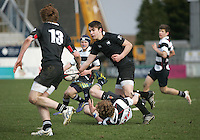 11 March 2013; Josh Haslett in action during the Medallion Shield Final between Wallace High School and Campbell College at Ravenhill, Belfast, DICKSONDIGITAL