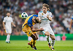 Luka Modric (r) of Real Madrid fights for the ball with Jesus Rueda of APOEL FC during the UEFA Champions League 2017-18 match between Real Madrid and APOEL FC at Estadio Santiago Bernabeu on 13 September 2017 in Madrid, Spain. Photo by Diego Gonzalez / Power Sport Images