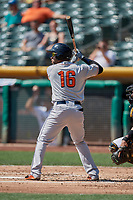 Alejandro Garcia (16) of the Fresno Grizzlies bats against the Salt Lake Bees at Smith's Ballpark on September 4, 2017 in Salt Lake City, Utah. Fresno defeated Salt Lake 9-7. (Stephen Smith/Four Seam Images)