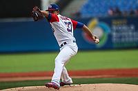 Jose Berrios pitcher inicial de Puerto Rico hace lanzamientos en el primer inning, durante el partido entre Italia vs Puerto Rico, World Baseball Classic en estadio Charros de Jalisco en Guadalajara, Mexico. Marzo 12, 2017. (AP Photo/Luis Gutierrez)