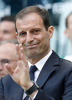 Calcio, Serie A: Juventus vs Palermo. Torino, Juventus Stadium, 17 aprile 2016.<br /> Juventus coach Massimiliano Allegri waves prior to the start of the Italian Serie A football match between Juventus and Palermo at Turin's Juventus Stadium, 17 April 2016.<br /> UPDATE IMAGES PRESS/Isabella Bonotto