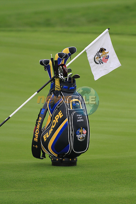 2010 Ryder Cup at the Celtic Manor twenty ten course, Newport Wales, 30/9/2010 Practice Day 3..Miguel Angel Jimenez golf bag with a ryder cup flah draped..Picture Fran Caffrey/www.golffile.ie.