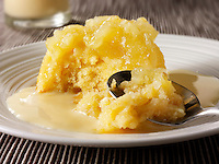 Eves Pudding and custard. Traditional British pudding.