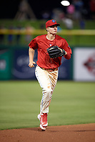 Clearwater Threshers Mickey Moniak (2) jogs to the dugout during a game against the Dunedin Blue Jays on April 6, 2018 at Spectrum Field in Clearwater, Florida.  Clearwater defeated Dunedin 8-0.  (Mike Janes/Four Seam Images)