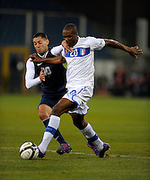 GENOVA, ITALY - February 29, 2012: Clint Dempsey (l, USA), Angelo Obinze Ogbonna (r, ITA) during the USA friendly match against Italy at the Stadium Luigi Ferraris in Genova, Italy.