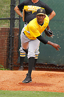 Bristol Pirates pitcher Yeudry Manzanillo (35) in the bullpen before a game against the Greeneville Reds at Pioneer Field on June 20, 2018 in Greeneville, Tennessee. Bristol defeated Greeneville 11-0. (Robert Gurganus/Four Seam Images)