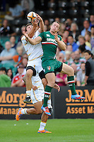 20130809 Copyright onEdition 2013 ©<br /> Free for editorial use image, please credit: onEdition.<br /> <br /> Rhys Owen of Worcester Warriors 7s battles with Ollie Turton of Leicester Tigers 7s during the finals of the J.P. Morgan Asset Management Premiership Rugby 7s Series.<br /> <br /> The J.P. Morgan Asset Management Premiership Rugby 7s Series kicked off for the fourth season on Thursday 1st August with Pool A at Kingsholm, Gloucester with Pool B being played at Franklin's Gardens, Northampton on Friday 2nd August, Pool C at Allianz Park, Saracens home ground, on Saturday 3rd August and the Final being played at The Recreation Ground, Bath on Friday 9th August. The innovative tournament, which involves all 12 Premiership Rugby clubs, offers a fantastic platform for some of the country's finest young athletes to be exposed to the excitement, pressures and skills required to compete at an elite level.<br /> <br /> The 12 Premiership Rugby clubs are divided into three groups for the tournament, with the winner and runner up of each regional event going through to the Final. There are six games each evening, with each match consisting of two 7 minute halves with a 2 minute break at half time.<br /> <br /> For additional images please go to: http://www.w-w-i.com/jp_morgan_premiership_sevens/<br /> <br /> For press contacts contact: Beth Begg at brandRapport on D: +44 (0)20 7932 5813 M: +44 (0)7900 88231 E: BBegg@brand-rapport.com<br /> <br /> If you require a higher resolution image or you have any other onEdition photographic enquiries, please contact onEdition on 0845 900 2 900 or email info@onEdition.com<br /> This image is copyright the onEdition 2013©.<br /> <br /> This image has been supplied by onEdition and must be credited onEdition. The author is asserting his full Moral rights in relation to the publication of this image. Rights for onward transmission of any image or file is not granted or implied. Changing or deleting Copyright information is illegal as specified in the Copyright, Design and Patents Act 1988. If you are in any way unsure of you