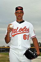 Feb 27, 2010; Tampa, FL, USA; Baltimore Orioles  pitcher Armando Gabino (61) during  photoday at Ed Smith Stadium. Mandatory Credit: Tomasso De Rosa