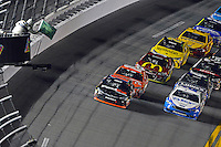 12-13 February, 2016, Daytona Beach, Florida, USA<br /> Denny Hamlin, FedEx Express Toyota Camry leads a restart.<br /> ©2016, F. Peirce Williams