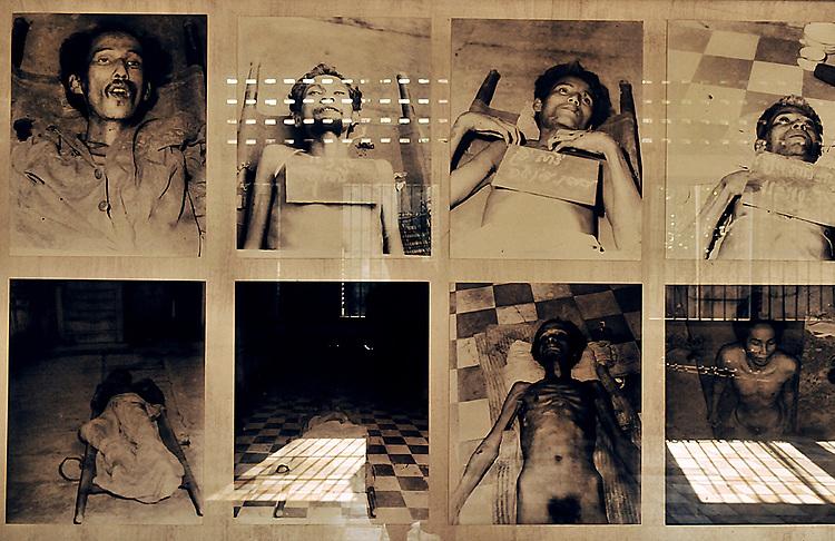 A.osnowycz/thereportage.com.15/03/2010.Phnom Penh, Cambodge.Prison de S1, série de photos prises par les tortionnaires..Entre 1975 et 1979 plus de 17 OOO personnes ont trouvé la mort, torturés et exécutées, hommes, femmes et enfants, dans cette ancien lycée de Phnom Penh, « Tuol Sleng », transformé par les khmers rouges en lieu d'extermination et rebaptisé du nom de S-21..Comble de l'horreur, tous avaient auparavant été photographiés et numérotés : retirer à ces hommes et à ses femmes tout ce qu'ils ont d'humain afin de plus facilement les exterminer, vulgaires « obstacles » dans la course effrénée et schizophrène que les dirigeants khmers rouges avaient entrepris le 17 avril 1975...La prison de Tuol Sleng, aujourd'hui transformée en musée est lourde d'émotions : Défilement des portraits d'innocents torturés, salles de tortures, geôles, instruments de torture, barbelés... Elle raconte l'histoire des milliers de victimes qui y ont trouvé la mort mais aussi celle de leurs bourreaux et de la folie dans laquelle le régime khmers rouge s'est engouffré.