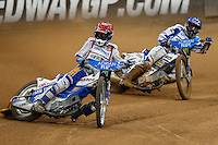 NICKI PEDERSEN (Denamark) leads CHRIS HARRIS (Great Britain) during the 2016 Adrian Flux British FIM Speedway Grand Prix at Principality Stadium, Cardiff, Wales  on 9 July 2016. Photo by David Horn.