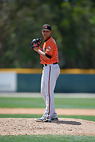 Baltimore Orioles pitcher Tobias Myers (73) gets ready to deliver a pitch during a minor league Spring Training game against the Tampa Bay Rays on March 29, 2017 at the Buck O'Neil Baseball Complex in Sarasota, Florida.  (Mike Janes/Four Seam Images)