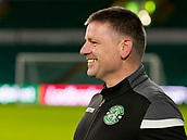6th February 2019, Celtic Park, Glasgow, Scotland; Ladbrokes Premiership football, Celtic versus Hibernian; Eddie May caretaker Hibernian Manager looks relaxed before kick off