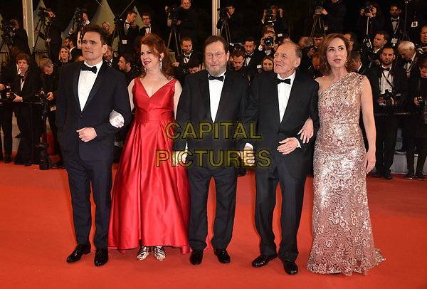CANNES, FRANCE - MAY 14: Actor Matt Dillon, actress Siobhan Fallon Hogan, director Lars von Trier, actor Bruno Ganz and actress Sofie Grabol at the screening of 'The House That Jack Built' during the 71st annual Cannes Film Festival at Palais des Festivals on May 14, 2018 in Cannes, France.<br /> CAP/PL<br /> &copy;Phil Loftus/Capital Pictures