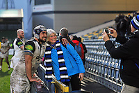 Leroy Houston of Bath Rugby poses for a photo with supporters after the match. Aviva Premiership match, between Worcester Warriors and Bath Rugby on February 13, 2016 at Sixways Stadium in Worcester, England. Photo by: Patrick Khachfe / Onside Images