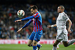 Real Madrid´s Pepe (R) and Levante´s Tono Garcia during La Liga match at Santiago Bernabeu stadium in Madrid, Spain. March 15, 2015. (ALTERPHOTOS/Victor Blanco)