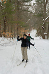Cross country skiers in Breakheart Reservation, Saugus, MA
