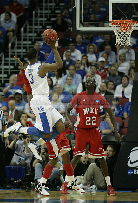 Terrence Jones takes a shot in the first half of the University of Kentucky game against Western Kentucky University in the second round of the NCAA Tournament, in the KFC Yum! Center, on Thursday, March 15, 2012 in Louisville, Ky.  Photo by Latara Appleby | Staff ..