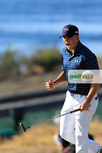 Jordan Speith (USA) sinks his birdie putt on the 16th green during Sunday's Final Round of the 2015 U.S. Open 115th National Championship held at Chambers Bay, Seattle, Washington, USA. 6/22/2015.<br /> Picture: Golffile   Eoin Clarke<br /> <br /> <br /> <br /> <br /> All photo usage must carry mandatory copyright credit (&copy; Golffile   Eoin Clarke)