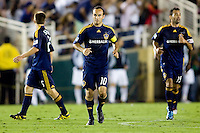 LA Galaxy midfielder Landon Donovan moves to the center of the field. Real Madrid beat the LA Galaxy 3-2 in an international friendly match at the Rose Bowl in Pasadena, California on Saturday evening August 7, 2010.