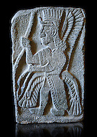 9th century BC stone Neo-Hittite/ Aramaean Orthostats from Palace Temple of the Aramaean city of Tell Halaf in northeastern Syria close to the Turkish border. The Orthostats are in a Neo Hittite style and depict mythical animals and figures that have magical properties. Pergamon Museum, Berlin . Museum Inv No: VA 8845,