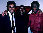 """Johnny Mathis, Patti LaBelle & Al Green pictured backstage after a performance of  """"Your Arms Too Short"""" at the Ambassabor Theatre in New York City."""