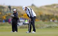 Friday 29th May 2015; Padraig Harrington, Ireland, knocks in a birdie on the par 3 7th<br /> <br /> Dubai Duty Free Irish Open Golf Championship 2015, Round 2 County Down Golf Club, Co. Down. Picture credit: John Dickson / SPORTSFILE