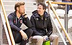 Almere - Zaalhockey Amsterdam-Den Bosch (v)  . coach Raoul Ehren (DBO) met Robert Tigges (A'dam) TopsportCentrum Almere.    COPYRIGHT KOEN SUYK