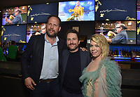 """HOLLYWOOD - SEPTEMBER 24: Nick Grad, Charlie Day, Mary Elizabeth Ellis attend the post-party at Dave & Busters following the  premiere of FXX's """"It's Always Sunny in Philadelphia"""" Season 14 on September 24, 2019 in Hollywood, California. (Photo by Stewart Cook/FXX/PictureGroup)"""