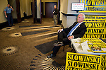 Rep. Paul Broun, R-Ga., sits in the lobby as the seven candidates wait to be called to the stage for the Republican candidates for Georgia's open U.S. Senate seat debate at the Columbia County Exhibition Center in Grovetown, Ga., outside of Augusta, on Saturday, April 19, 2014.  (Photo By Bill Clark/CQ Roll Call)