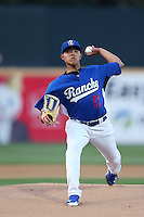 Julio Urias #17 of the Rancho Cucamonga Quakes pitches against the Lake Elsinore Storm at LoanMart Field on April 14, 2014 in Rancho Cucamonga, California. Lake Elsinore defeated Rancho Cucamonga, 5-0. (Larry Goren/Four Seam Images)
