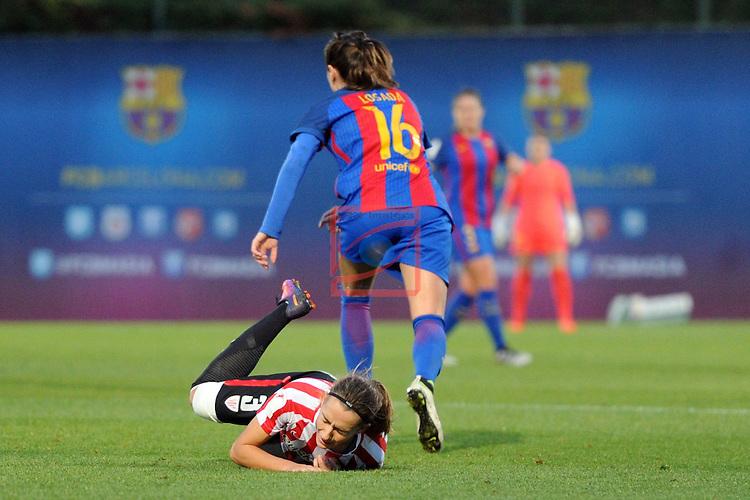 Spanish Women's Football League Iberdrola 2016/17 - Game: 11.<br /> FC Barcelona vs Athletic Club: 2-1.<br /> Moraza vs Vicky Losada.