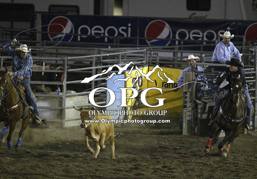 28 Aug 2009:  Trevor Brazile and Patrick Smith were not able to score a time of in the Team Roping competition at the Kitsap County Wrangler Million Dollar PRCA Pro Rodeo Tour in Bremerton, Washington.