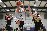 Elkins Makenna Hughes (5) shoots, Friday, February 14, 2020 during a basketball game at Elkins High School in Elkins. Check out nwaonline.com/prepbball/ for today's photo gallery.<br /> (NWA Democrat-Gazette/Charlie Kaijo)