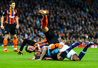 Manchester City's Raheem Sterling clashes with Shakhtar Donetsk's Mykola Matviyenko<br /> <br /> Photographer Alex Dodd/CameraSport<br /> <br /> UEFA Champions League Group F - Manchester City v Shakhtar Donetsk - Wednesday 7th November 2018 - City of Manchester Stadium - Manchester<br />  <br /> World Copyright &copy; 2018 CameraSport. All rights reserved. 43 Linden Ave. Countesthorpe. Leicester. England. LE8 5PG - Tel: +44 (0) 116 277 4147 - admin@camerasport.com - www.camerasport.com