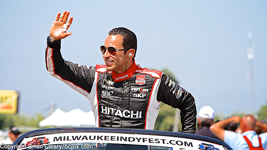 Helio Castroneves, Milwaukee Indy Fest 250, Milwaukee Mile Speedway, Milwaukee, WI, August 2014.  (Photo by Brian Cleary/www.bcpix.com)