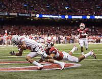 DeVier Posey of Ohio State scores a touchdown after caught a pass from Terrelle Pryor during 77th Annual Allstate Sugar Bowl Classic at Louisiana Superdome in New Orleans, Louisiana on January 4th, 2011.  Ohio State defeated Arkansas, 31-26.