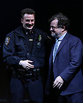 Chris Evans and Kenneth Lonergan during the the Broadway Opening Night Performance curtain call for 'Lobby Hero' at The Hayes Theatre on March 26, 2018 in New York City.