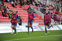 The French subs warm up during the UEFA Womens U19 Final at Parc y Scarlets Saturday 31st August 2013. All images are the copyright of Jeff Thomas Photography-www.jaypics.photoshelter.com-07837 386244-Any use of images must be authorised by the copyright owner.
