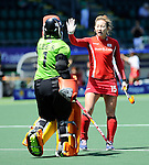 The Hague, Netherlands, June 13: Sinhye Lee #1 of Korea and Eunji Cho #15 of Korea celebrate after winning after the field hockey placement match (Women - Place 7th/8th) between Korea and Germany on June 13, 2014 during the World Cup 2014 at Kyocera Stadium in The Hague, Netherlands. Final score 4-2 (2-0)  (Photo by Dirk Markgraf / www.265-images.com) *** Local caption ***