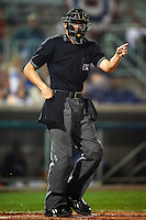 Home plate umpire Clayton Hamm during the NY-Penn League All-Star Game at Eastwood Field on August 14, 2012 in Niles, Ohio.  National League defeated the American League 8-1.  (Mike Janes/Four Seam Images)
