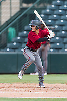 AZL Diamondbacks left fielder Alek Thomas (5) at bat during an Arizona League game against the AZL Angels at Tempe Diablo Stadium on July 16, 2018 in Tempe, Arizona. The AZL Diamondbacks defeated the AZL Angels by a score of 4-3. (Zachary Lucy/Four Seam Images)