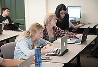 Professor Kathryn Leonard teaches her COMP 347 class, machine learning, in Fowler 110 on Sept. 20, 2017. Leonard is also Chair of the Computer Science Dept.<br />