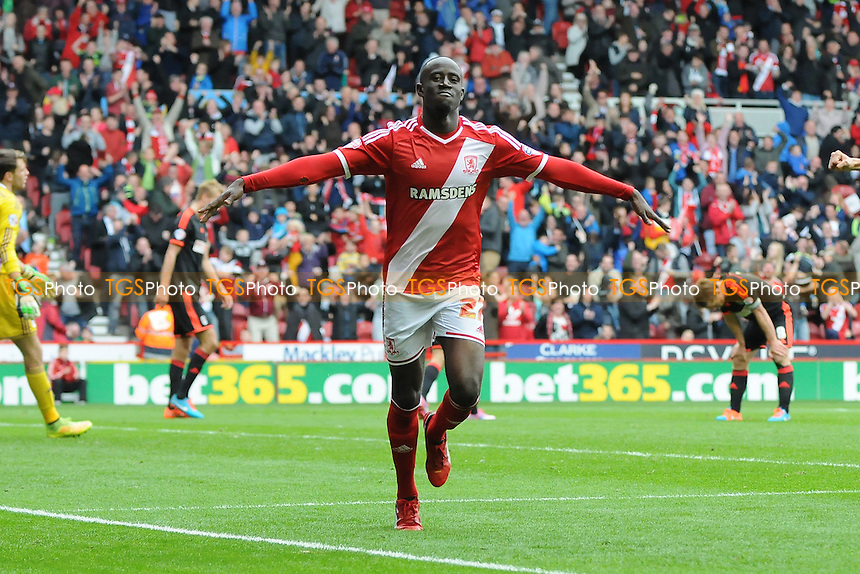 Albert Adomah of Middlesbrough celebrates scoring Middlesbrough's second goal - Middlesbrough vs Fulham - Sky Bet League Championship Football at the Riverside Stadium, Middlesbrough - 04/10/14 - MANDATORY CREDIT: Steven White/TGSPHOTO - Self billing applies where appropriate - contact@tgsphoto.co.uk - NO UNPAID USE