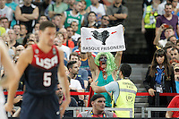 Basque independence activist during 2014 FIBA Basketball World Cup Quarter-Finals match.September 9,2014.(ALTERPHOTOS/Acero)